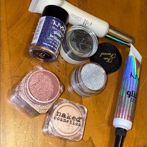 Lot of glitter glue, eye glitter, powder eyeshadow